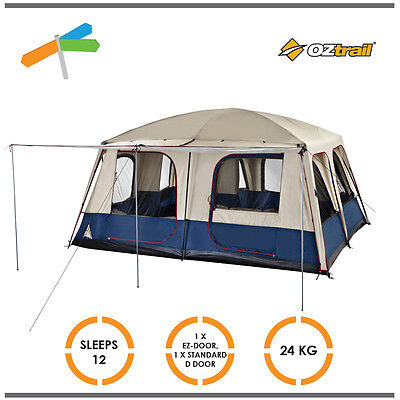 OZtrail Dome Tent Lodge Combo 12 Person 2 Roof Cabin with Awning Camping Durable