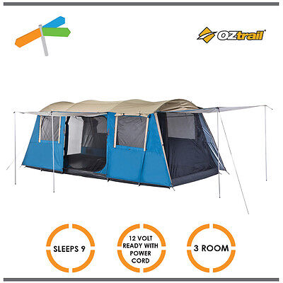 OZtrail Dome Tent  9 Person Family Bungalow Camping Hiking Outdoors
