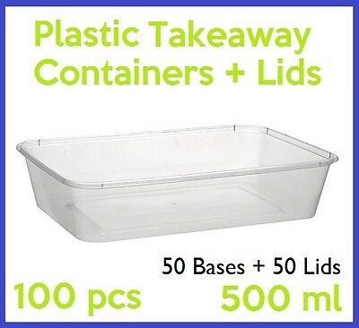 100 PC 500mL TAKEAWAY CONTAINER LID DISPOSABLE PLASTIC TAKE AWAY CLEAR