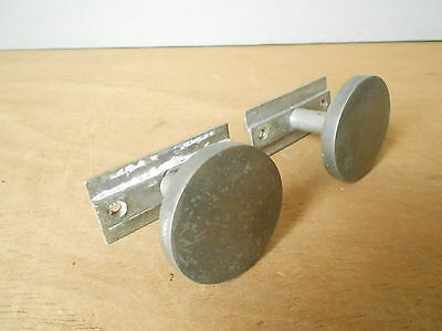 Pair of French LOFT modernist metal Vintage KNOBS HANDLES