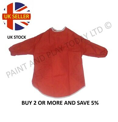 Childrens Kids Waterproof Apron Smock Painting Art Craft - Red - Choose Size
