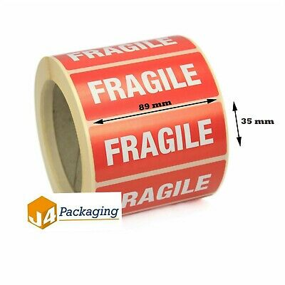 Fragile Stickers Labels 89 X 32MM Self Adhesive 50, 100, 250, 500, 1000
