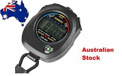 Digital LCD Stop watch handheld Chronograph Timer compass Sports Alarm stopwatch