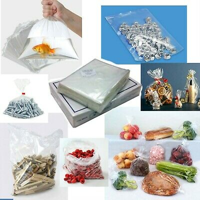 Clear Polythene Poly Plastic Bags All Sizes For Crafts Food 10 100 200 500 1000