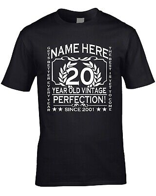 Age 45th 60th Mens 21st Birthday T-Shirt Customised Personalised Add Name Year