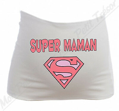Bandeau de Grossesse Maternité Super Maman / Superman rose / Humour
