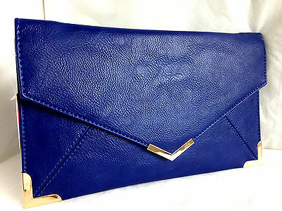 New Royal Blue Faux Leather Evening Day Clutch Bag Envelope Prom Wedding Party