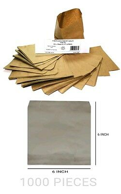 """1000 X Kraft Paper Bags Strung  6"""" X 6""""  Ideal For Food Items 1000 Pieces 1 Pack"""