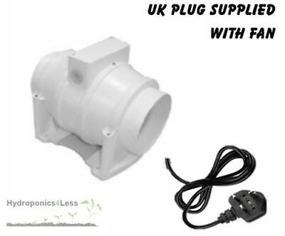 "4"" 5"" 6"" Elta Fans Inline Mixed Flow Hydroponics Grow Fan upto 587m3/hr UK Plug"