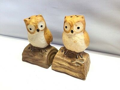 Vtg Hand Painted Cermic Tan & White Owl Salt Pepper Shakers Perched On Branch