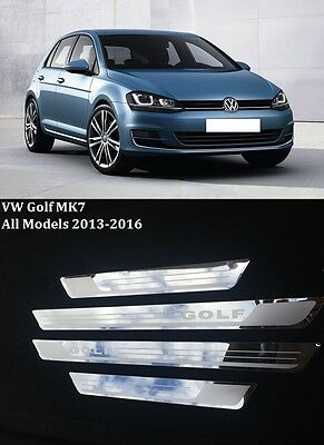 New Volkswagen Golf Mk7 13-16 Stainless Steel Door Sill Scuff Plates Uk Seller