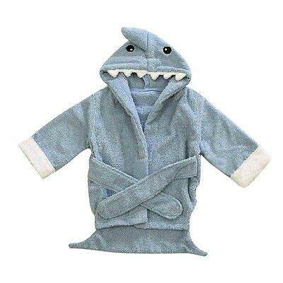 Cute Blue Shark Newborn Baby Boy Soft Bath Hooded Towel Robe Bathrobe Wrap 0-12M