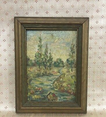 Early 20th Century Oil On Canvas Signed Impressionist Landscape 6.75 X 8.75