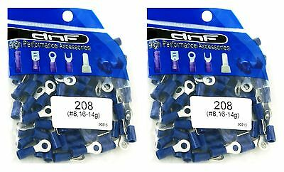 (200 Pack) 16-14 Gauge Blue Ring Terminals Electrical Wire Connectors #8