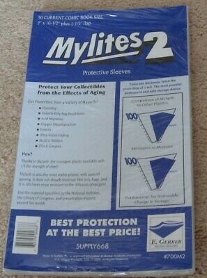 100 E Gerber Mylites 2 Current Comic Book Mylar Bags + Full Back backer boards