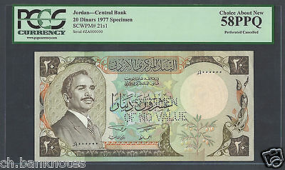 Jordan 20 Dinars ND(1977) P20s1 Specimen Perforated  About Uncirculated