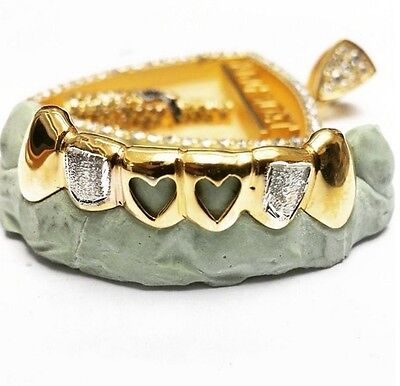 Custom 14k Gold Plated Sterling Silver Heart Open Face Grillz Slugz Two Tone