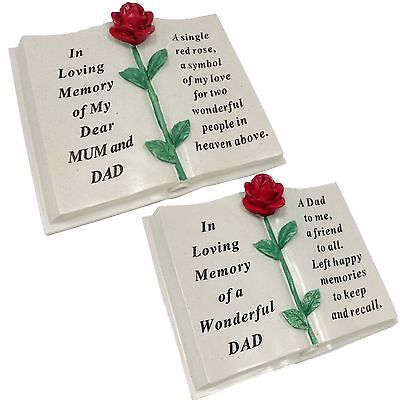 Memorial Rose Flower Special Verse Book Grave Sentimental Plaque Stone Ornaments