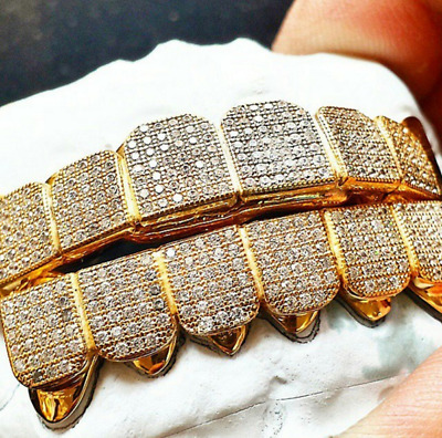 Custom Sterling Silver Iced Out 8pc 14k Gold Plated Lab Diamond Grillz Grill