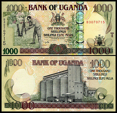 Uganda 1000 1,000 Shillings 2008 P 43 Unc Quarter Bundle (25 Notes)