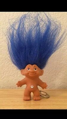 "New! Lucky Troll Key Chain Blue Hair Approx 2"" H Genuine Swarovski Crystal"