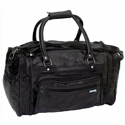 Large Black Leather Gym Carry On Travel Bag Duffle Satchel Tote Mens Womens