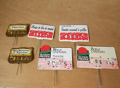 6 French hard plastic Butcher SHOP LABELS PLAQUES SIGNS