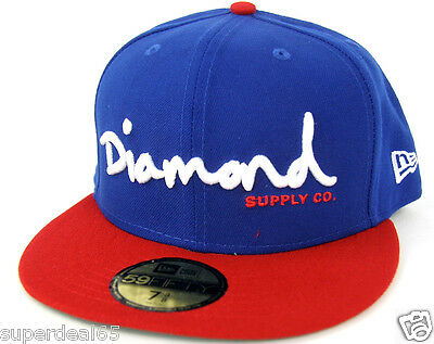 d3150185db2 Diamond Supply Co. Cap OG Script Fitted Hat New Era 59Fifty Blu Red Diamond  1998
