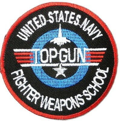 """Top Gun USA Navy Fighter Pilot Fancy Dress Embroidered Iron on Badge Patch 2.9"""""""
