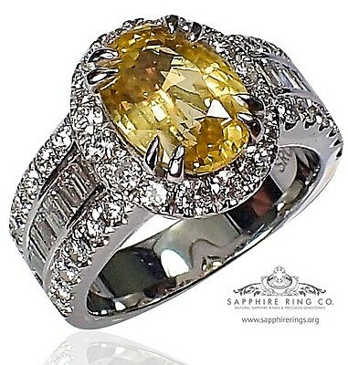 Untreated GIA Platinum 6.32 tcw Yellow Oval Cut Natural Sapphire & Diamond Ring