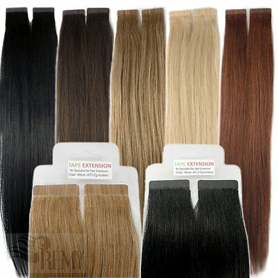 Tape In On 100% Indian Echthaar Remy Hair Extensions Haarverlängerung 40 45 60cm