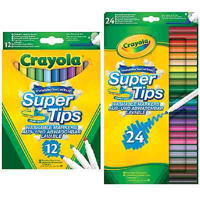 Crayola Super Tips Markers Washable Coloured Felt Tip Pens Stationery Colouring