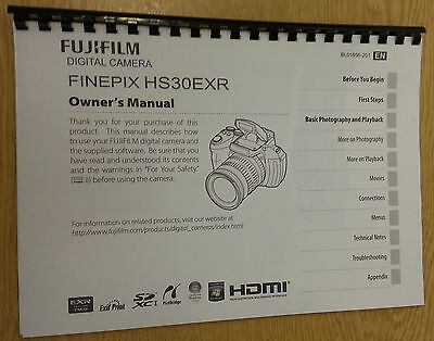 Fujifilm Hs30Exr Finepix Printed Instruction Manual/user Guide 146 Pages A5
