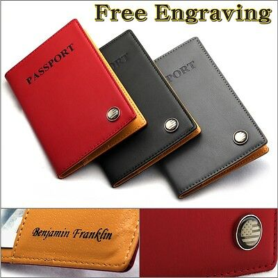 Free Engraving RFID Blocking Leather Passport Holder ID Card Case Cover Wallet