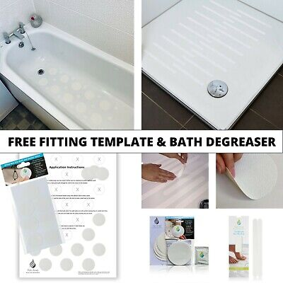 28 Modern Style Discreet Non Slip Bath Shower Safety Mat White Clear