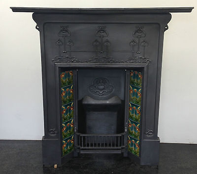 Original Restored Antique Cast Iron Art Nouveau Fireplace Tiled Insert (BL456)