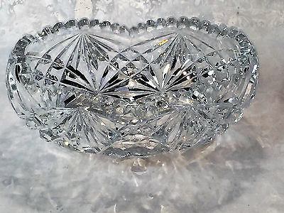"Antique Vintage Hand Cut Large 9"" Lead Crystal Canoe Boat Shape Bowl Vase"