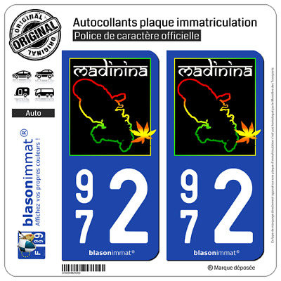 2 Autocollant plaque d'immatriculation auto | 972 Martinique - Madinina