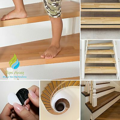 Non Slip Anti Skid Clear Black Textured Safety Tape Stair Hallway Floor Treads