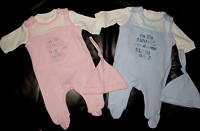 Baby Boys girls set Playsuit Romper Dungarees Outfit Hat Reborn tiny NB-3 M