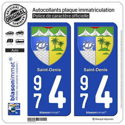 2 Blasonimmat plaque immatriculation | 974 Saint-Denis - Armoiries | 97400