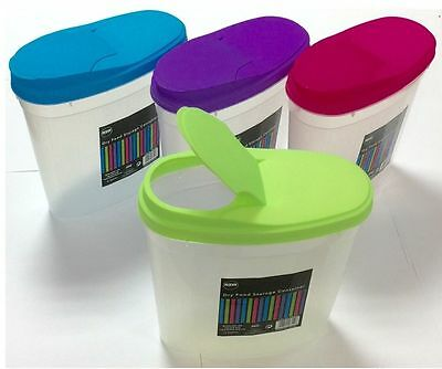 4 x 3L Cereal Dispenser Store Storage Box Kitchen Lid Foods Rice Pasta Container