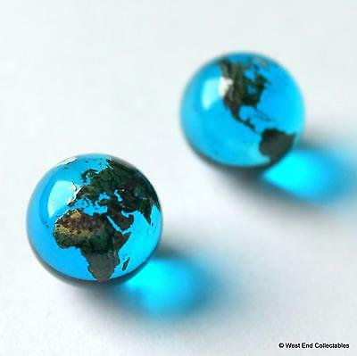 2 x 15mm Blue Earth Globe Glass Marbles - Earring Jewellery Making Stones