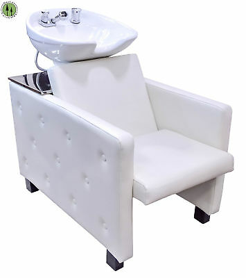 Shampoo Backwash Unit White CERAMIC BOWL Tilt Salon Barber Spa Chair VIDEO