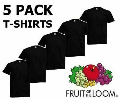 Black 5 Pack Mens Fruit of The Loom Plain Cotton Tshirt T Shirt Blank All Sizes