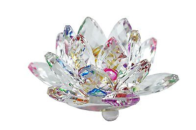 """Stunning 3.5"""" Clear & Colorful Reflect Crystal Lotus Home Decor Gift USA Seller"""