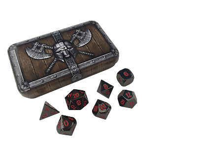 Black and Red Color- Solid Metal Polyhedral Role Playing Game (RPG) Dice Set