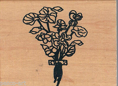 Papercraft4you Mary Hughes Bunch of Flowers Rubber stamp on wood wooden block