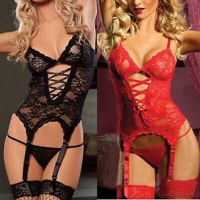 Women Lace Lingerie Corset Dress+Handcuff+Thongs G-string Teddies Plus Size Gift