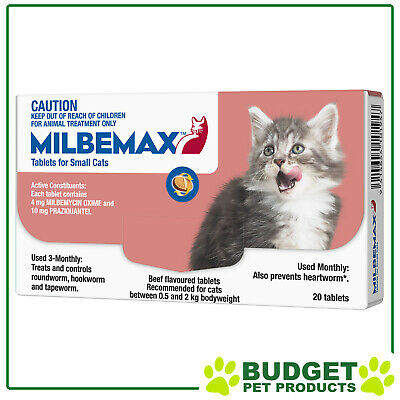 EXP: 05/2019 - Milbemax Allwormer For Cats 0.5 - 2kg 20 Tablets